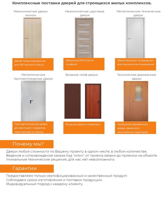 Комплексные поставки дверей для строящихся жилых комплексов