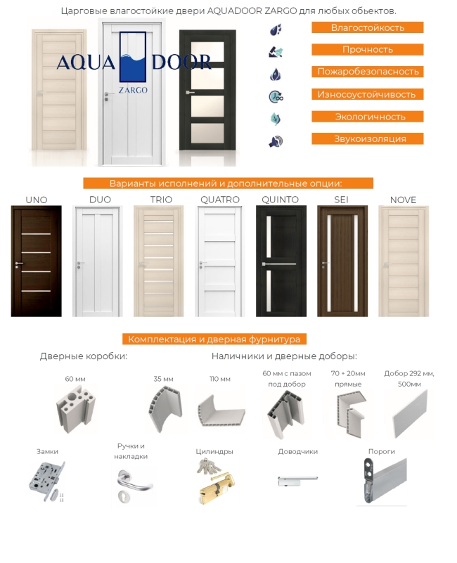 Царговые влагостойкие двери AQUADOOR ZARGO для любых объектов