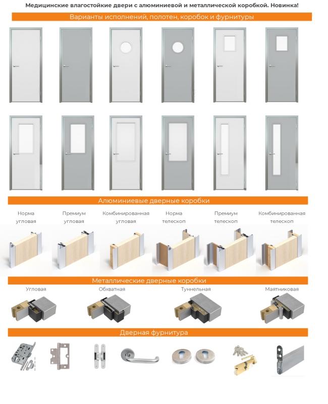 Влагостойкие медицинские двери с металлической и алюминиевой коробкой